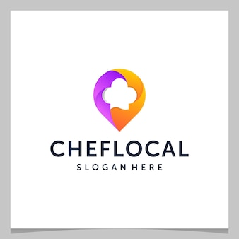 Inspiration logo design map pin location and a chef's hat with colorful logo. premium vector