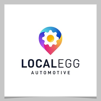 Inspiration logo design map pin location and gear egg with colorful logo. premium vector