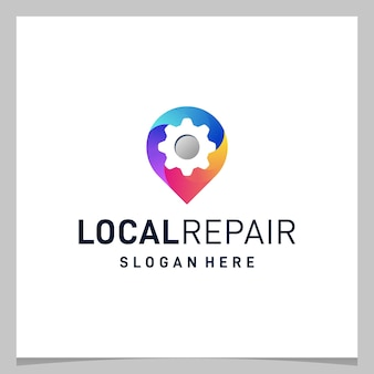 Inspiration logo design map pin location and gear with colorful logo. premium vector