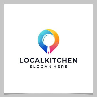 Inspiration logo design map pin location and a kitchen equipment with colorful logo. premium vector
