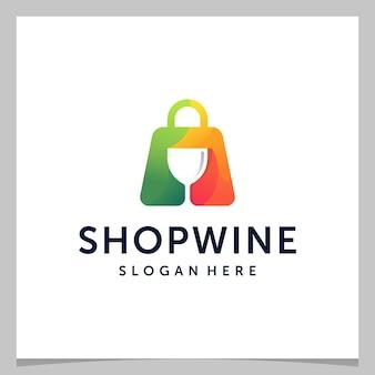 インスピレーションロゴデザインのショッピングバッグとカラフルなロゴのワイングラス。プレミアムベクトル