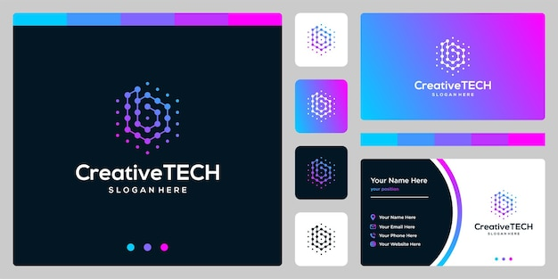 Inspiration logo initial letter b abstract with tech style and gradient color. business card template
