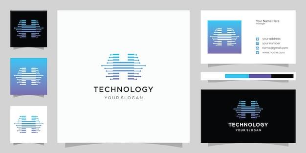 영감 로고 초기 문자 h는 기술 스타일과 그라데이션 색상으로 추상화됩니다. 명함 템플릿
