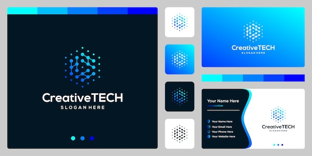 Inspiration logo initial letter h abstract with tech style and gradient color. business card template