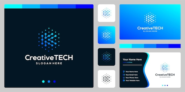 Inspiration logo initial letter k abstract with tech style and gradient color. business card template