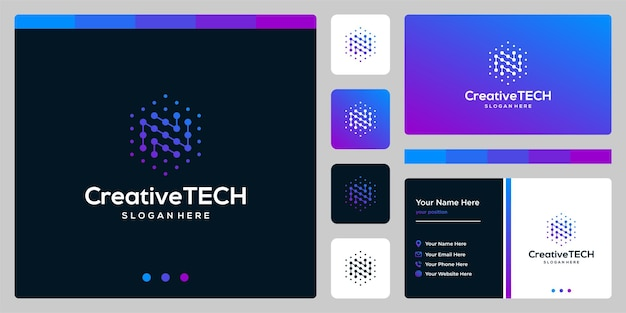 Inspiration logo initial letter n abstract with tech style and gradient color. business card template