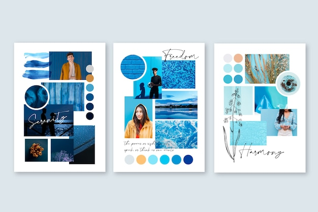Inspiration mood board template in blue