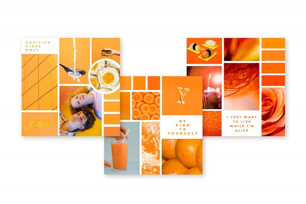 Inspiration mood board template in orange