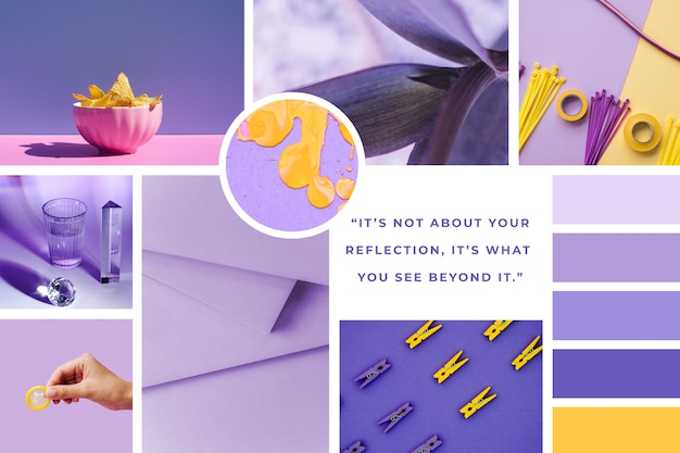 Inspiration mood board template in purple
