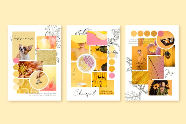 Inspiration mood board template in yellow