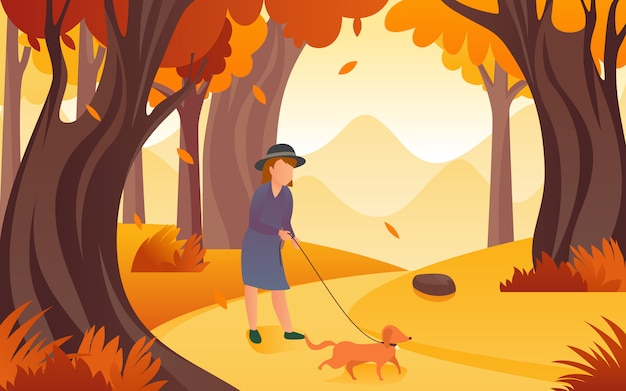 女性が秋に自由時間を過ごすために犬と一緒に歩き回っていたときのイラストベクトルフラットデザインのインスピレーション。