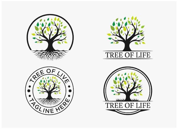 Inspiration set tree of life logo premium vector