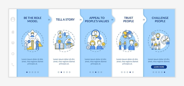 Inspiration speeches for audience onboarding   template. motivation information and encourage employees.   webpage walkthrough step screens.