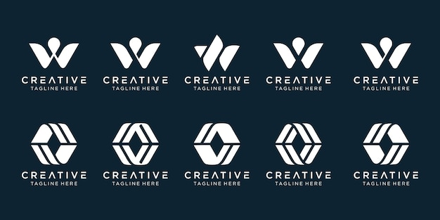 ファッションスポーツ技術のビジネスのための心に強く訴える抽象的な文字wロゴテンプレートアイコン