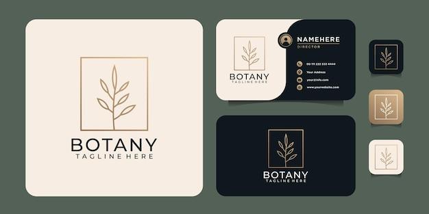 Вдохновляющие ботанические листья цветок минималистский логотип