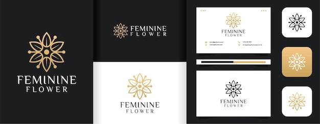 Inspirational feminine line leaf flower logo  set