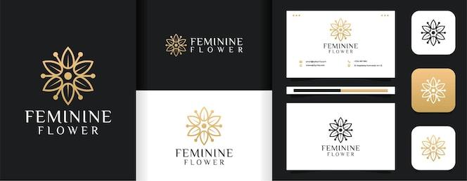 Insieme di ispirazione femminile linea foglia fiore logo