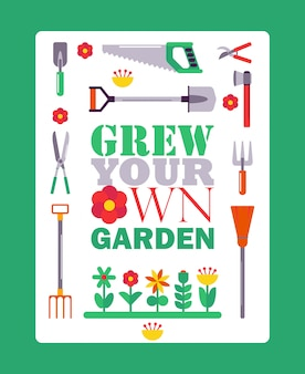 Inspirational gardening poster, typographic book cover with isolated gardener tools icons.