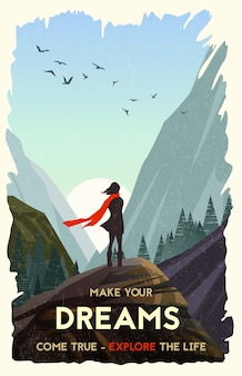 Inspirational illustration. girl standing alone on rock watching sunset in mountains. vector illustration
