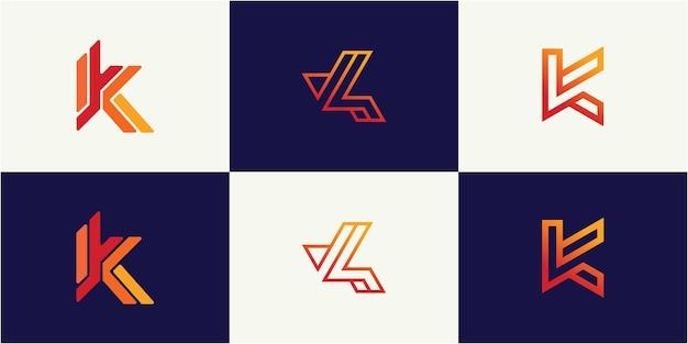 心に強く訴える手紙kモノグラムロゴデザインテンプレート