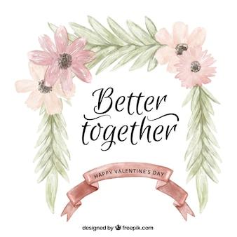 花の水彩画の詳細をインスピレーションの愛のフレーズ