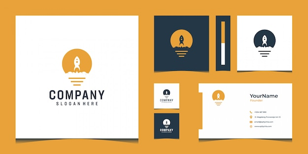 Inspirational modern logo and business card design in gold color