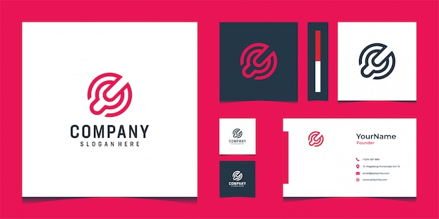 Inspirational modern logo and business card design in light red color