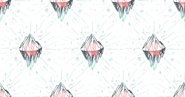 Inspirational mountain seamless pattern for print