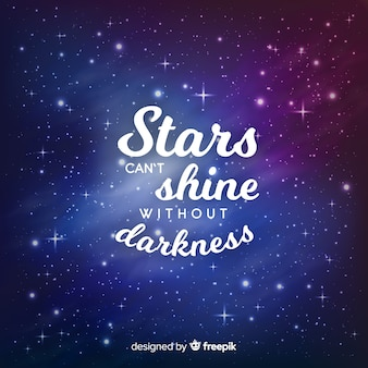 Inspirational phrase with star background