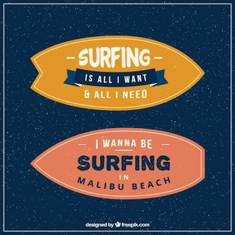 Inspirational phrases in vintage surfboards