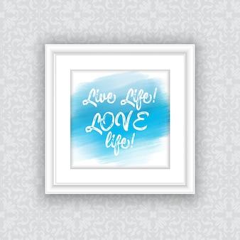 Вдохновенная цитата по дизайну акварельной краски в подвесной фоторамке
