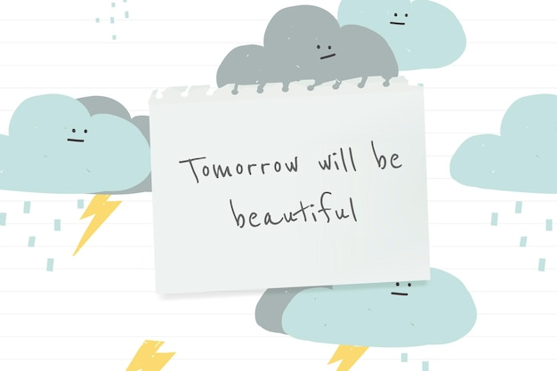 Inspirational quote template vector quote with cute weather doodle banner