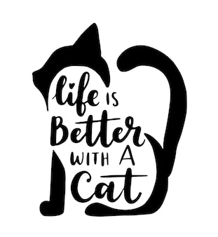 Inspirational quotes about cat and domestical pets. hand written phrases.
