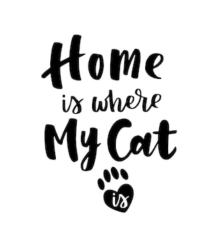 Inspirational quotes about cat and domestical pets. hand written phrases. Premium Vector