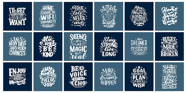 Inspirational quotes. hand drawn vintage illustrations with lettering.