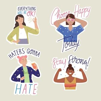 Inspirational cita positività per l'autorizzazione delle donne e l'uguaglianza di genere per il corpo femminista