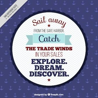 Вдохновенный мореплавание фраза в винтажном дизайне
