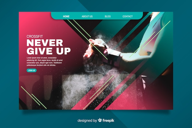 Inspirational sport landing page