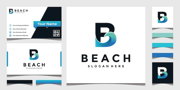 Inspired logo b with sea waves