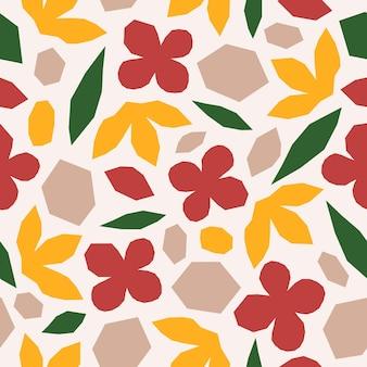 カラフルなカッティングオーガニックの形や植物を使ったマティスのシームレスなパターンにインスピレーションを得た