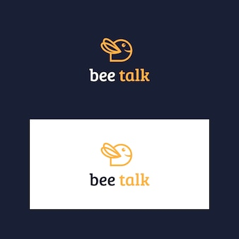 Inspiring bee and talk logo template