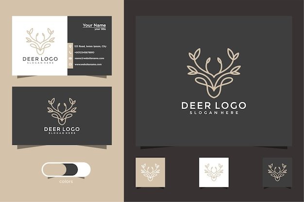 Inspiring deer and leaf logos and business cards