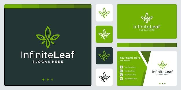 영감을 주는 꽃 식물 로고와 무한한 로고 모양. 명함 디자인