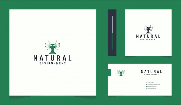 Inspiring leaf logo with modern business card design template