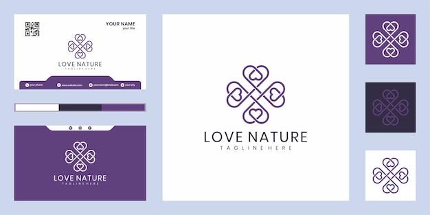 영감을주는 럭셔리 사랑 자연 로고 디자인