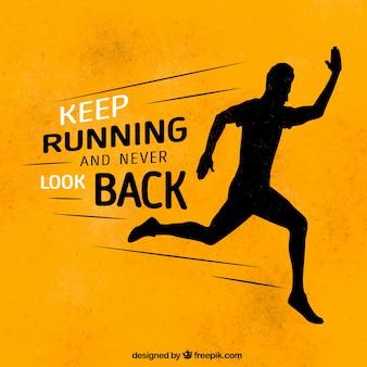 Вдохновляющее сообщение «продолжайте бегать и никогда не оглядывайтесь назад»