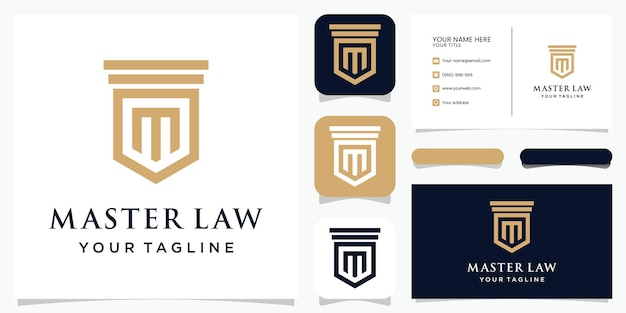 영감을주는 모노그램 문자 m 로고 디자인 조합 마스터 법률 로고 및 명함
