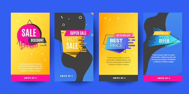 Insta template photo, set of instagram stories sale banner background