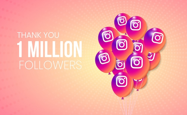 Instagram 3d balloons collection for banner and milestone achievement presentation
