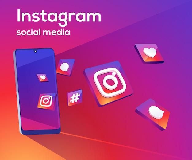 Instagram 3d иконки социальных сетей с символом смартфона